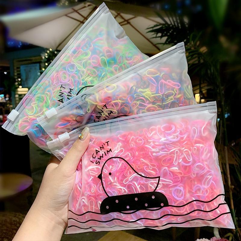 1000 Pcs Random Elastic Hair Bands Mixed Colors Small Circle Hair Bands For Girls Natural Strong Elastic Hair Rubber Bands