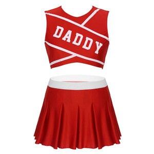 Image 2 - Frauen Charming Cheerleader Cosplay Kostüm Schule Mädchen Sexy Cosplay Rundhals Ärmel Crop Top mit Mini Plissee Rock