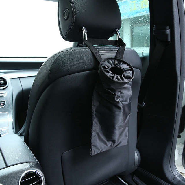 Huihom Universal Car Back Seat Trash Garbage Can Waste Bin Organizer Seat Back Kids Kick Protector Cover Automobile Accessories