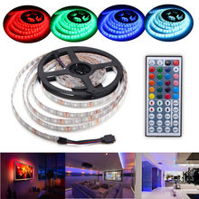 300Leds RGB LED tira 5M 5050 impermeable Flexible Led noche vacaciones luz escritorio lámpara DC12V 44Key IR receptor de control remoto(China)