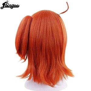 Image 4 - Ebingoo High Temperature Fiber Grand Order Gudako Short Straight Orange Synthetic Cosplay Wig With Ponytail