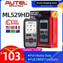 Autel MaxiLink Herramienta de escaneo ML529HD, modo mejorado, lector de códigos para automóvil, herramienta de diagnóstico de servicio pesado que utiliza SAE J1939 de SAE J1708
