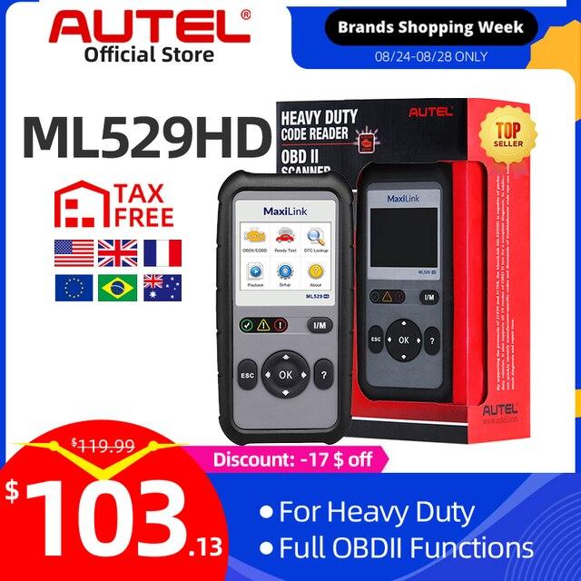 Autel MaxiLink ML529HD Strumento di Scansione Modalità Avanzata 6 OBD2 Auto Lettore di Codice Heavy Duty Strumento di Diagnostica Utilizzando SAE J1939 SAE J1708