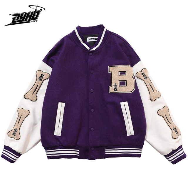 Hip Hop Furry Bone Patchwork Color Block College Jackets Mens Harajuku Casual Bomber Varsity Jacket Women Baseball Coats Unisex 2