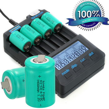 1400mAh NICD 1.2V Battery 1.2 v 4/5 SC Sub C Ni-CD Ni CD Batteries Rechargeable Batteries with Tab Green 36g 33mm x 22mm image