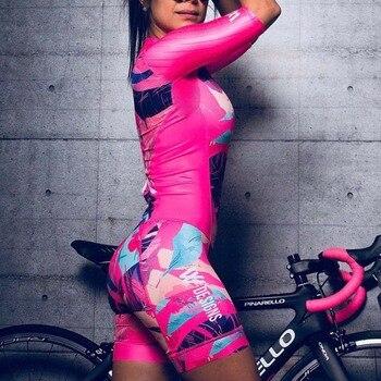 Triathlon terno roupas ciclismo conjuntos de corpo rosa roupa feminina macacão feminino triatlon kits 1