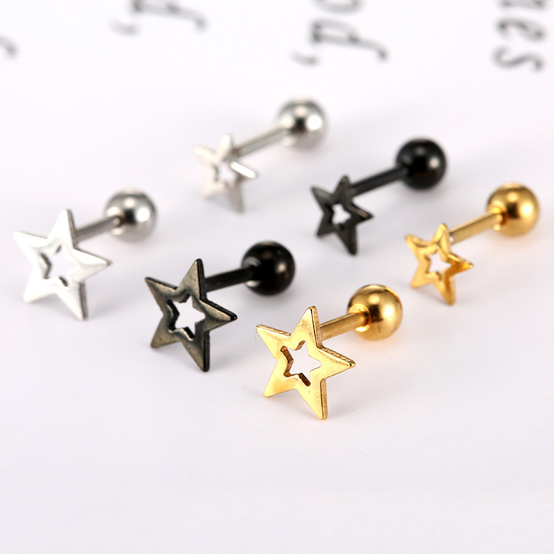 Stud Earrings For Women Ornaments Earing Oorbellen Titanium Steel Thread Five pointed Star Defence Allergy Ear Nail Lovers Times in Stud Earrings from Jewelry Accessories