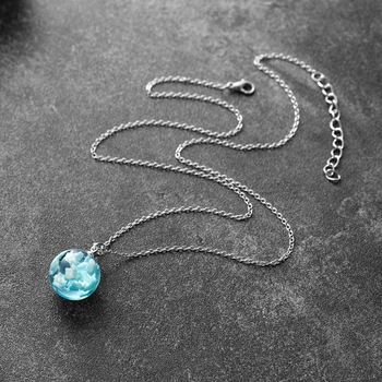 Chic Transparent Resin Rould Ball Moon Pendant Necklace Women Blue Sky White Cloud Chain Necklace Fashion Jewelry Gifts For Girl 6