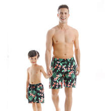 цена на 2020 Brand New Summer Leaf Print Short Pants Quick Dry Family Matching Daddy And Me Men Boys Trouser Dad Father Son Beach Shorts