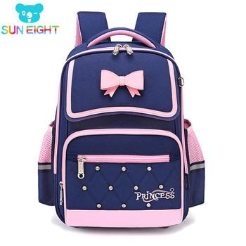 SUN EIGHT Bow dziewczęcy plecak szkolny plecak ortopedyczny torby szkolne dla dzieci torby dziecięce lekkie torby szkolne dla dziewczynek tanie i dobre opinie CN (pochodzenie) NYLON zipper Backpack 0 8kg 43cm Stałe 90902 Dziewczyny 15cm 31cm 39cm*27cm*13cm 43cm*31cm*15cm