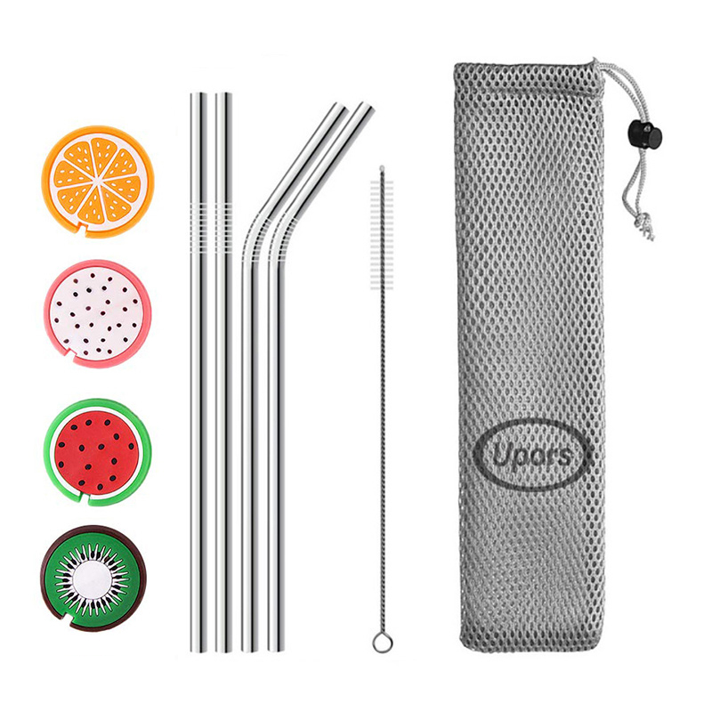 UPORS 215*6mm Metal Drinking Straws Eco Friendly Stainless Steel Straws with Silicone Maintainer Tips Reusable Straw Brush Pouch|  - title=