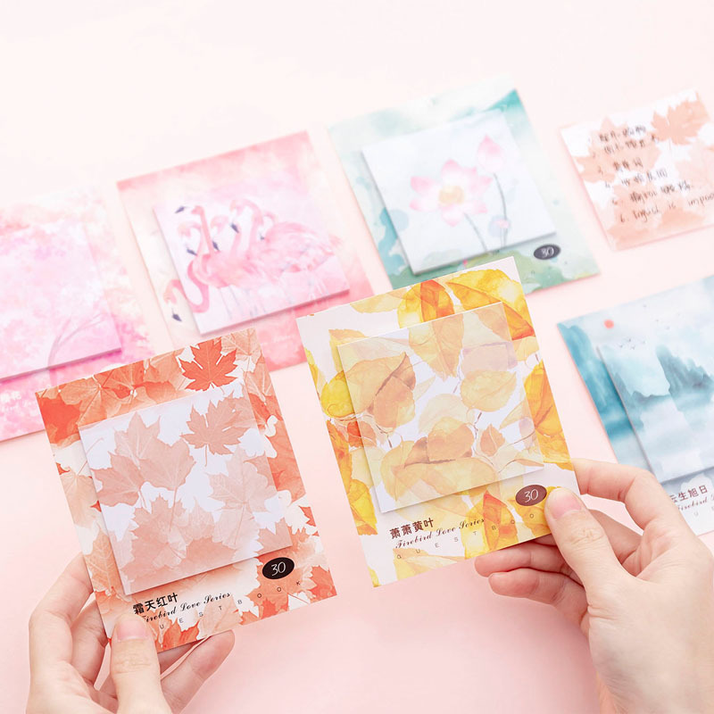Kawaii Flamingo Leaf Paper Sticky Notes Memo Pad Diary Stationary Flakes Scrapbook Decorative Cute N Times Sticky