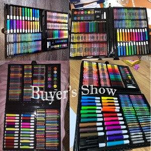 Image 5 - 168 adet/takım sanat seti petrol Pastel mum boya renkli kalemler işaretleme kalemleri suluboya boya boyama çizim seti noel hediyesi çocuklar için