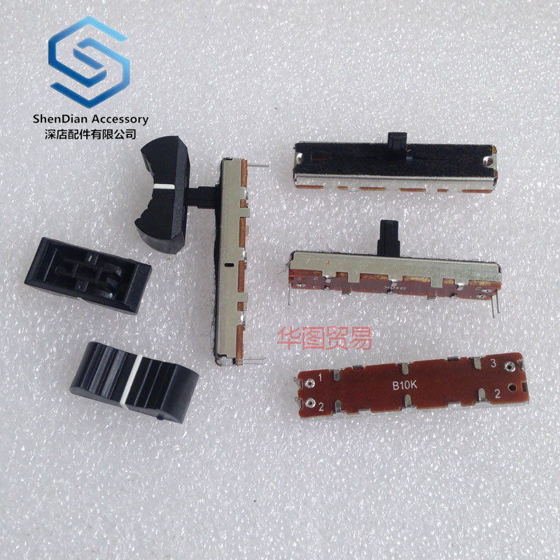 10pcs 100% New 35mm Single Channel Straight Sliding Potentiometer Push B10k Stroke 20mm With White Point Handle Length Of 10 Mm