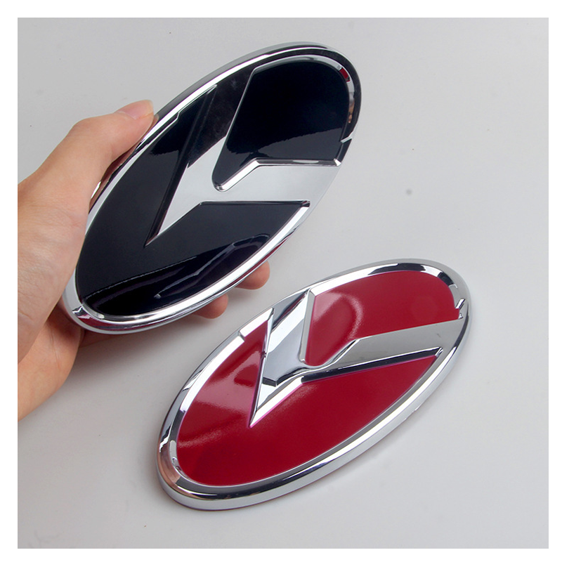 110 130mm 150mm 165mm Car Styling Middle Front Hood Rear Trunk K Logo Emblem Modified Upgrade Badge Sticker for Kia K2 K3 K4 K5