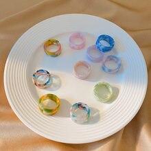 2021 nowy modny śliczne 4 sztuk/zestaw kolorowe paski akrylowe pierścień otwierający geometryczne okrągłe pierścienie dla kobiet dziewczyn biżuteria koreańska