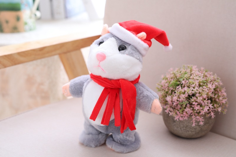 Talking Hamster Repeats What You Say Mimicry Pet Plush Buddy Electronic Mouse Interactive Toy Funny Kids Stuffed Christmas Toys
