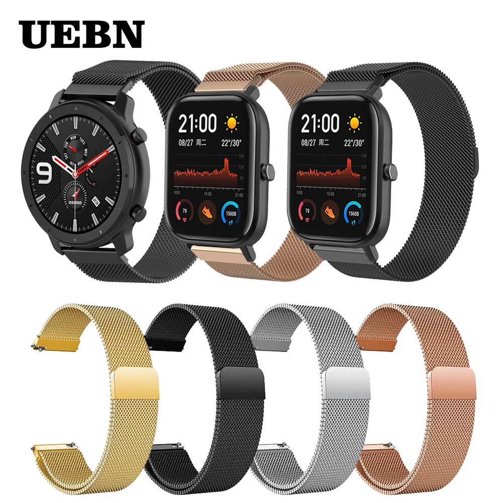 UEBN 20mm 22mm Milanese Loop Strap Replacement Band For Xiaomi Huami Strap Amazfit GTS/GTR 42mm 47mm/Bip Watchbands