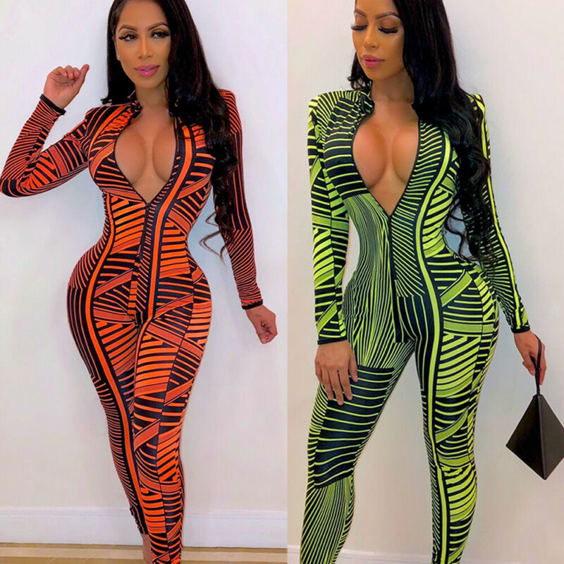 Sexy Womens Jumpsuit Sexy Long Sleeve Bodycon Bodysuit Vintage Playsuit Ladies Clubwear Fashion V-neck Jumpsuits Long Trousers