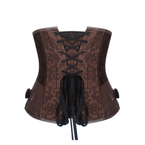 Image 4 - Burvogue Waist Control Steampunk Corsets and Bustiers Leather Corsets Sexy Women Gothic Underbust Corselet Steel Boned Corsets