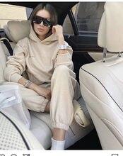 2021 inverno novas roupas femininas mais veludo quente 2 de duas peças conjunto de esportes com capuz camisola calças terno calças casuais conjunto