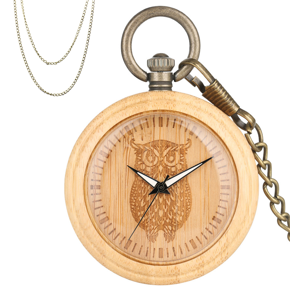 Engraving Owl Display Bamboo Wood Quartz Pocket Watch Bronze Pendant Pocket Clock With Fob Pocket Chain+Sweater Chain