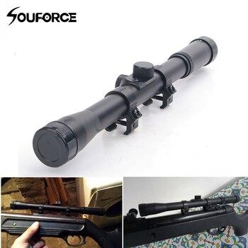 Mira telescópica 4x20 para Rifle de aire, objetivo de 20mm, compatible con pistola de aire de 9-11mm, para caza táctica Airsoft