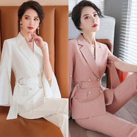 Female Formal Elegant Office Work Wear Uniform Ladies Trousers Blazers Coat Suits Casual New Pieces Sets Clothes R156