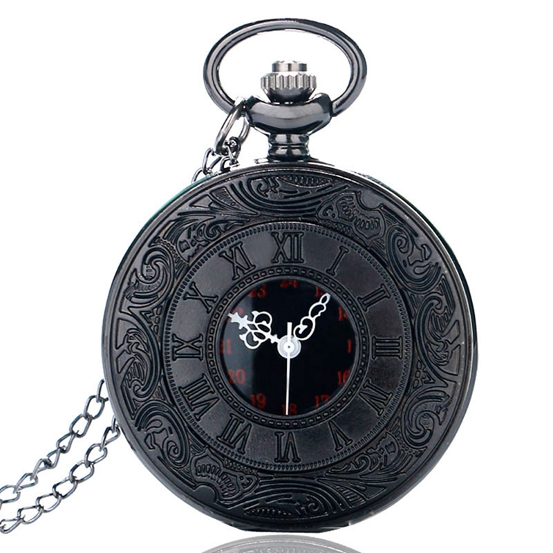 Watches ... Pocket & Fob Watches ... 2048310958 ... 1 ... Fashion Black Retro Bronze Roman Dial Quartz Vintage Antique Pocket Watch 80cm Chain Necklace Pendant Watches Gift for Men Women ...