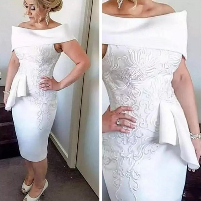 White Stunning Embroidery Applique Knee Length Cocktail Dress 2020 Sheath Off-shoulder Peplum Short Prom Mother Dress