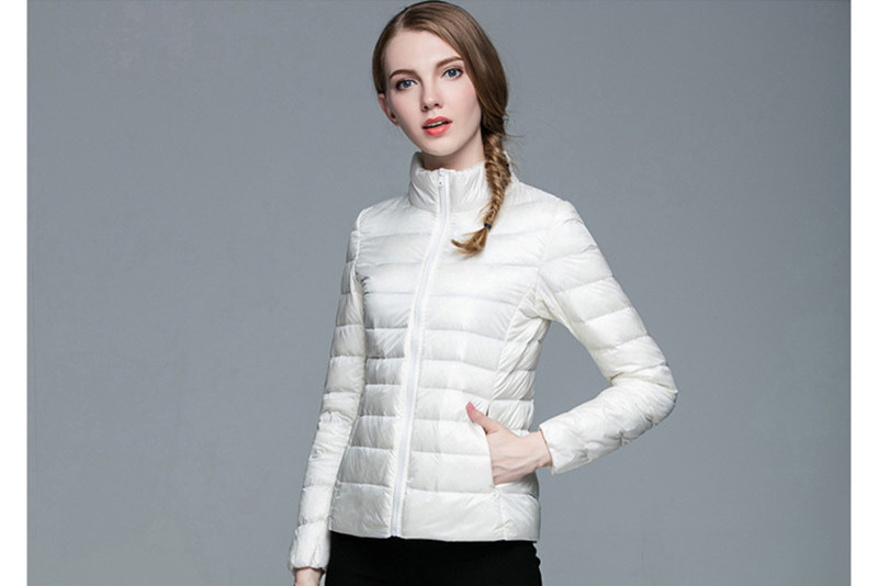 Ultra 2020 Light Down Jacket Women Stand Collar Parkas Women's White Duck Down Coat Female Short Winter Jackets WXF237 's S