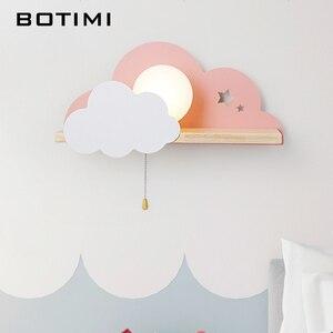 Image 2 - BOTIMI Kinder LED Wand Lampe Für Schlafzimmer Glas Lampenschirm Wolke Metall Cartoon Jungen Nacht Beleuchtung Kinder Zimmer Mädchen Wandleuchte