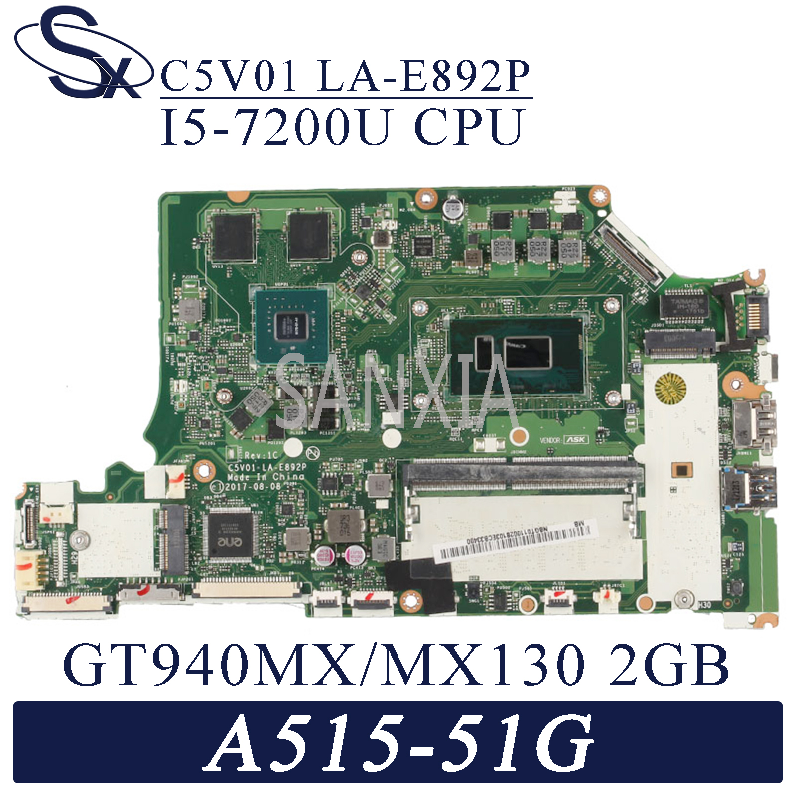KEFU LA-E892P <font><b>Laptop</b></font> motherboard for Acer A515-51G A615-51G original mainboard Onboard 4GB-RAM I5-7200U GT940MX/<font><b>MX150</b></font>-2GB image