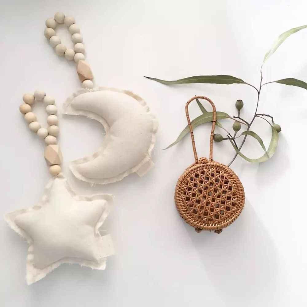Cama para niños juguetes de cuentas de madera regalos adornos de diseño nórdico tienda para niños cuna estrella corazón colgante cuerdas decoración de guardería