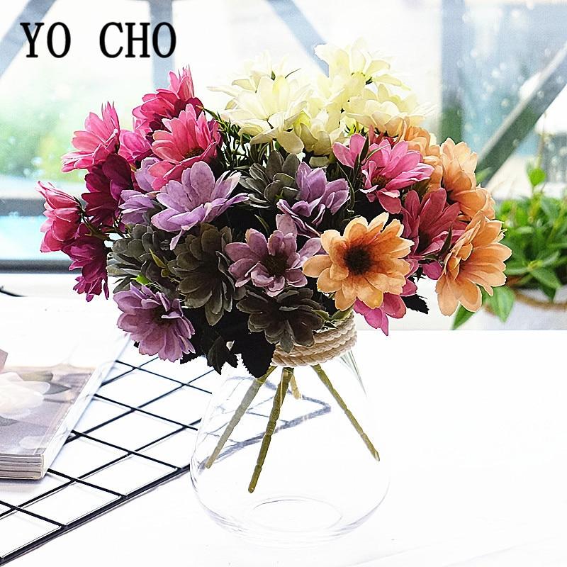 YO CHO Wedding Mini Bouquet 5 Fork 10 Heads Silk Daisy Artificial Flower Fake Daisy Purple Blue Gerbera Home Party Wedding Decor