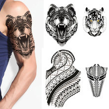 Waterproof Temporary Tattoo Sticker Tiger Animals Tatto Flash Tatoo Fake Tattoos For kids men women