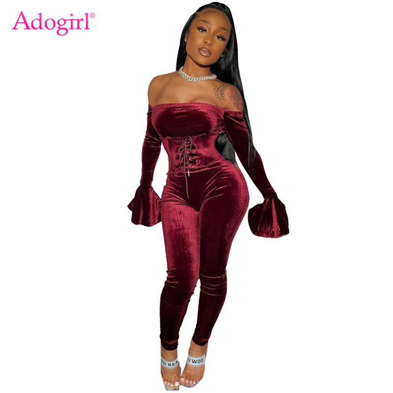 Adogirl 2019 New Women Sexy Velvet Jumpsuit Grommet Lace Up Waistcoat Slash Neck Off Shoulder Long Flare Sleeve Skinny Romper