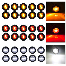 30pcs/Set White / Red / Amber Mini DC 12V 3/4 Round Side 3 LED Marker Car Truck Trailer Pickup Ship LED Lights цена