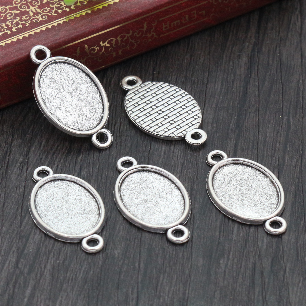 10pcs 13x18mm Inner Size Antique Silver Plated Simple Cameo Cabochon Base Setting Charms Pendant Necklace Findings  (D4-27)
