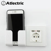 Atlectric Glass panel Wall Power Socket Grounded 16A EU Standard Electrical Outlet With 2100mA Dual USB Charger Port for Mobile dual usb port 5v 2100ma electric wall charger port dock socket power outlet electricity ac power panel plate gold color