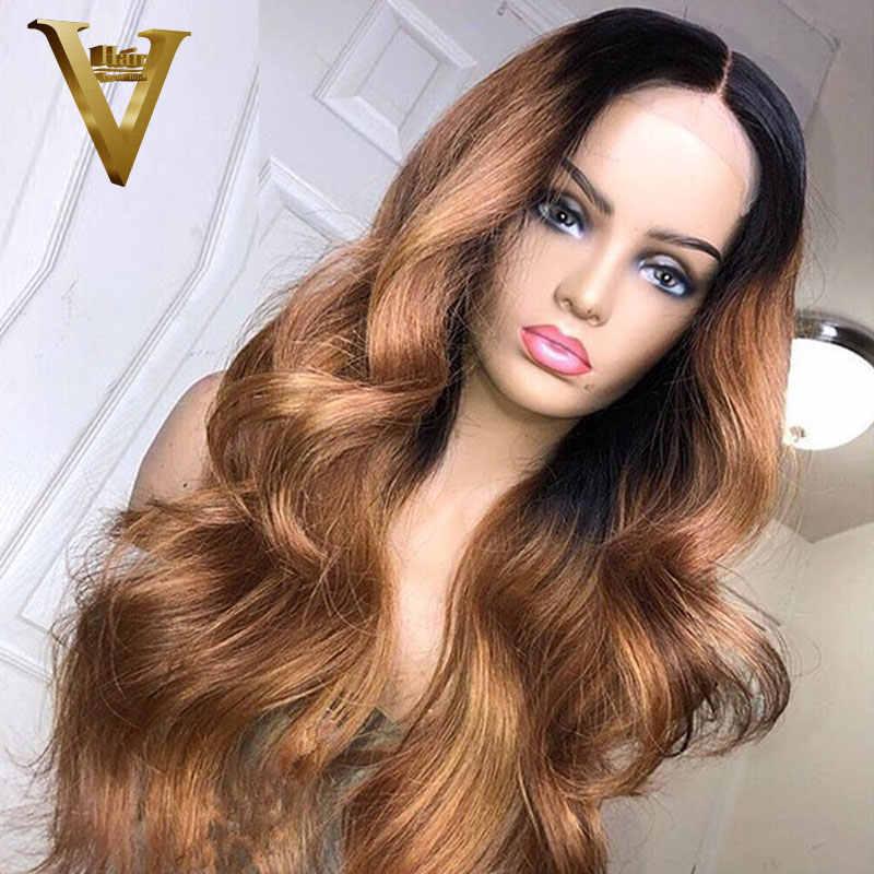 Ombre rubio miel Brown 13x6 peluca con malla Frontal brasileña Remy cuerpo onda de encaje Frontal pelucas de cabello humano para mujeres 360 peluca Frontal de encaje