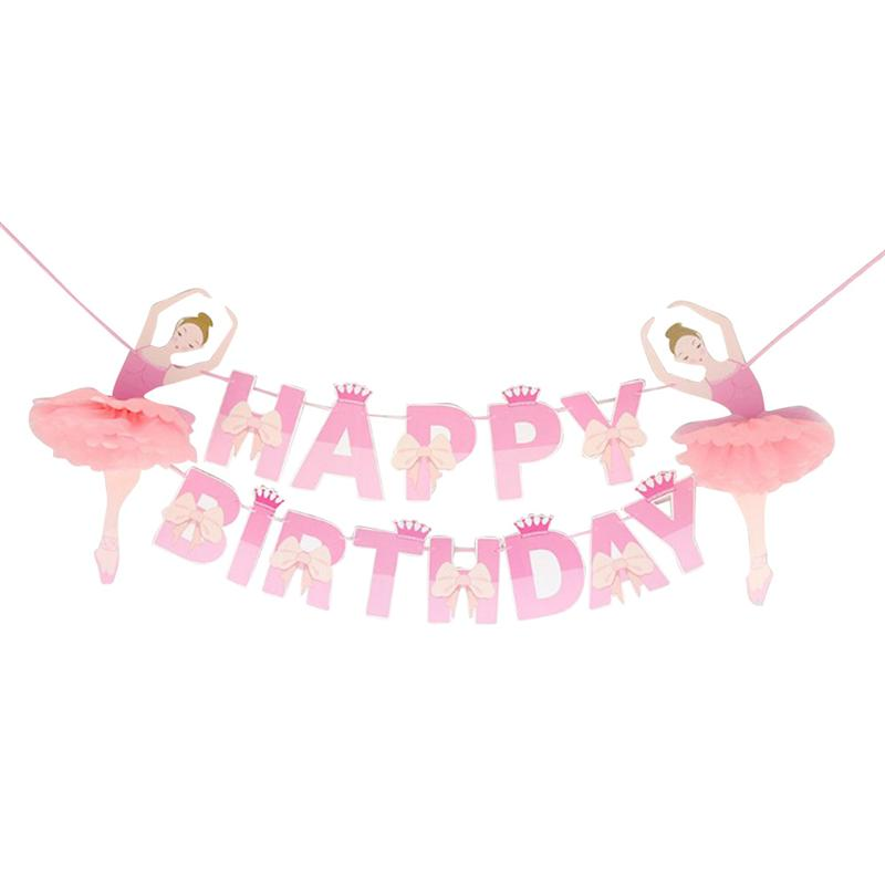 Ballerina Ballet Girl Bunting Banner HAPPY BIRTHDAY with Bowknot and Crown Decor Bunting Garland Party Decor for Birthday Kid