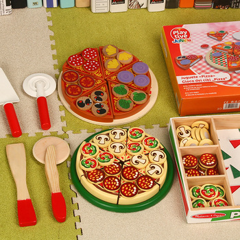 27pcs Pretend Play Simulation Wooden Kichen Cutting Pizza Set Toys Role Play Cooking Toy Early Development Toys For Kids Gift