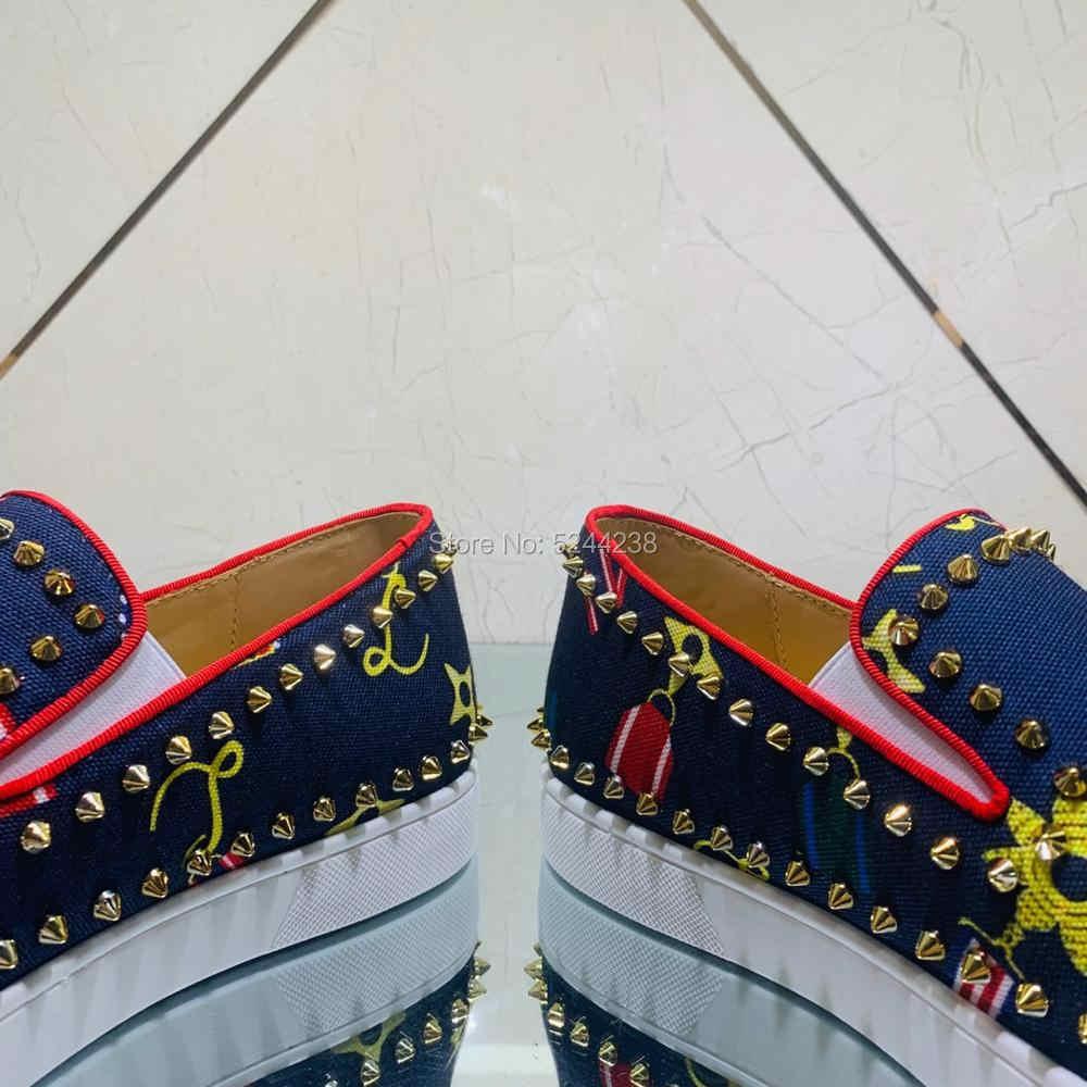 Low Cut CL andgz Blue Badge ผ้าหนัง Rivets ทองด้านล่างสีแดงสำหรับชายแบนรองเท้าผ้าใบรองเท้าผ้าใบสบายๆกีฬา RUNNER รองเท้า