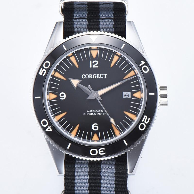 Corgeut 41mm Men Watch Sapphire Automatic Mechanical Luxury Brand Sport Calendar Waterproof 007 Watch Wristwatch Men Nylon Strap