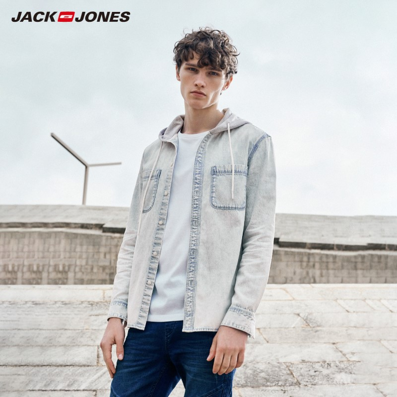 JackJones New Fashion Men's Letter Print Hooded Denim Shirt Style 219105503