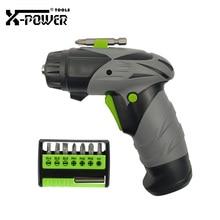 X-power 6V AA Battery Mini Electric Screwdriver Set Cordless Gun Shape Screw Driver LED Light 7 in 1 Bits Home Use Maintainance