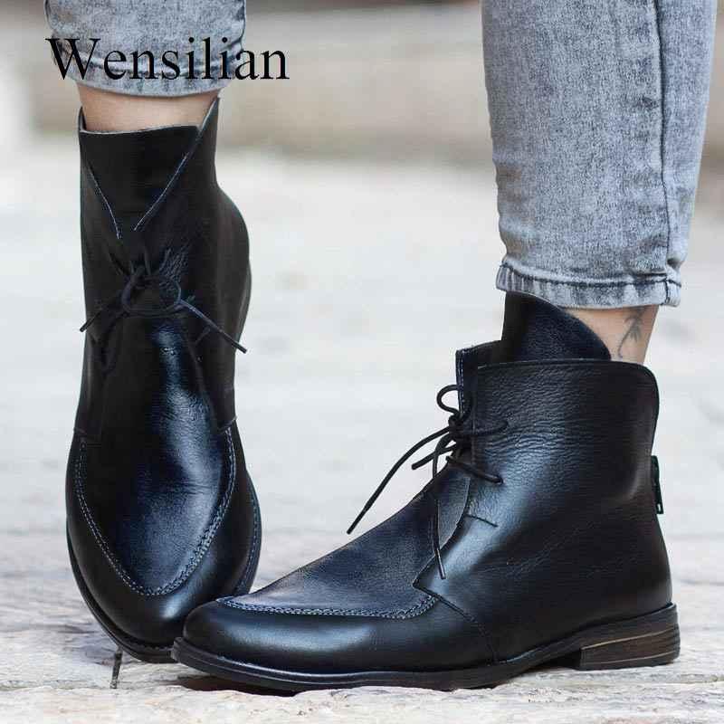 Kış yarım çizmeler kadınlar için Patchwork PU deri ayakkabı toka ayakkabı bayanlar kalın topuk siyah kısa çizme ayakkabı Botas Mujer