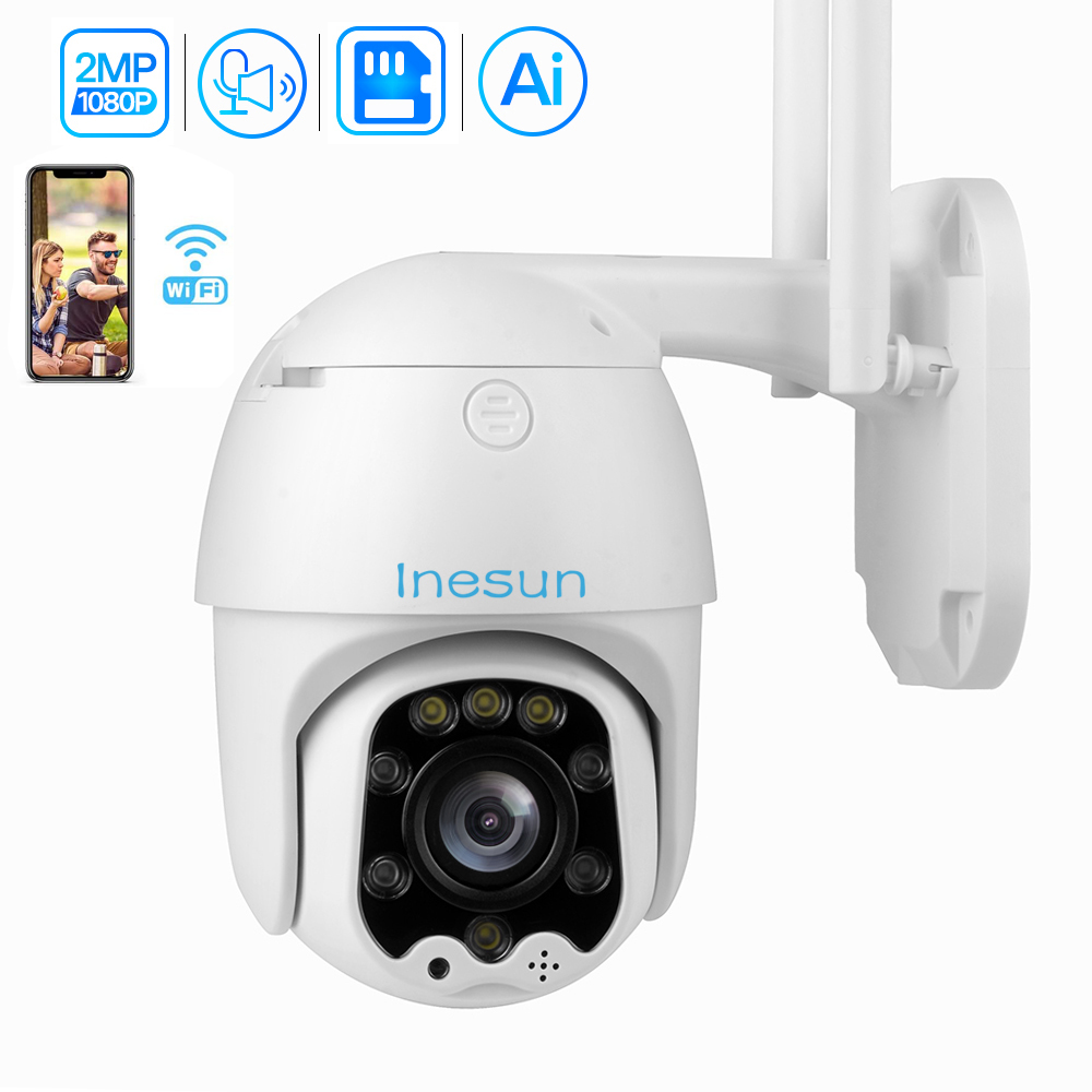 Inesun 1080P PTZ Wireless IP Camera Outdoor Mini WiFi Security Speed Dome Camera AI Auto Tracking Color Night Vision CCTV Camera