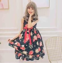 Милое Платье Лолиты jsk платье принцессы с клубничным бантом